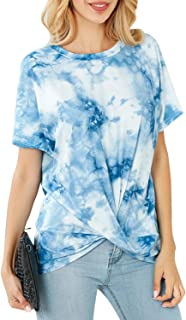 Gnpolo Womens Tie Dye Shirt Summer Blouse Tops Short Sleeve Twist Knot Casual T Shirts Tees
