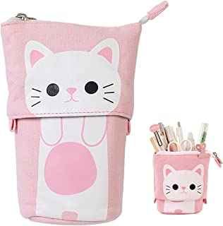 iSuperb Transformer Stand Store Pencil Holder Canvas+PU Cartoon Cute Cat Telescopic Pencil Pouch Bag Stationery Pen Case Box with Zipper Closure 7.5 x 4.9 x 3.0inch/4.1x 3.0inch (Pink)