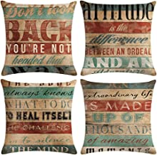 ULOVE LOVE YOURSELF Retro Decorative Throw Pillow Covers Cases Rustic Inspirational Words Home Decor Cushion Covers 18x18 Set of 4(Inspirational Words)