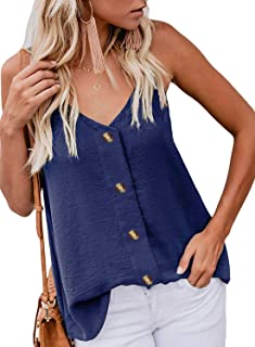 e2722d1609ff27 Roshop Womens Button Down V Neck Loose Sleeveless Strappy Cami Tank Tops  Casual Shirts Blouses