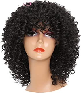 Long Red Black Afro Wig Kinky Curly Wigs for Black Women Blonde Mixed Brown 250g Synthetic Wigs,642-Black,18inches,C