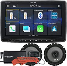 """Alpine iLX-F259 Halo9 9"""" Single Din Mech-Less Digital Media Receiver Endless Car Entertainment Bundle with SiriusXM Tuner and Alpine Speakers. Stereo with Bluetooth, Apple CarPlay/Android Auto"""