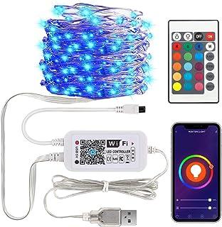 MoKo Cadena de luces RGB inteligente funciona con Alexa Google Home, 10 m, 100 LED 2,4 GHz, control de aplicación WiFi, im...