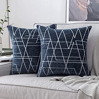 MIULEE Pack of 2 Decorative Throw Pillow Covers Geometric Pattern Chenille Cozy Modern Concise Soft Navy Blue Square Cushion Covers Set for Bedroom Sofa Car 20x20 Inch