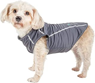 Pet Life ® Active 'Racerbark' 4-Way Stretch Performance Active Dog Tank Top T-Shirt, Medium, Grey