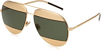 Dior Split Gold, Green Mirror Aviator Sunglasses
