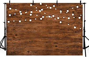 MEHOFOTO 8X6ft Rustic Wood Photography Backdrops Props Shining Bulbs Dark Wood Birthday Wedding Holiday Party Decoration Photo Studio Booth Background Banner