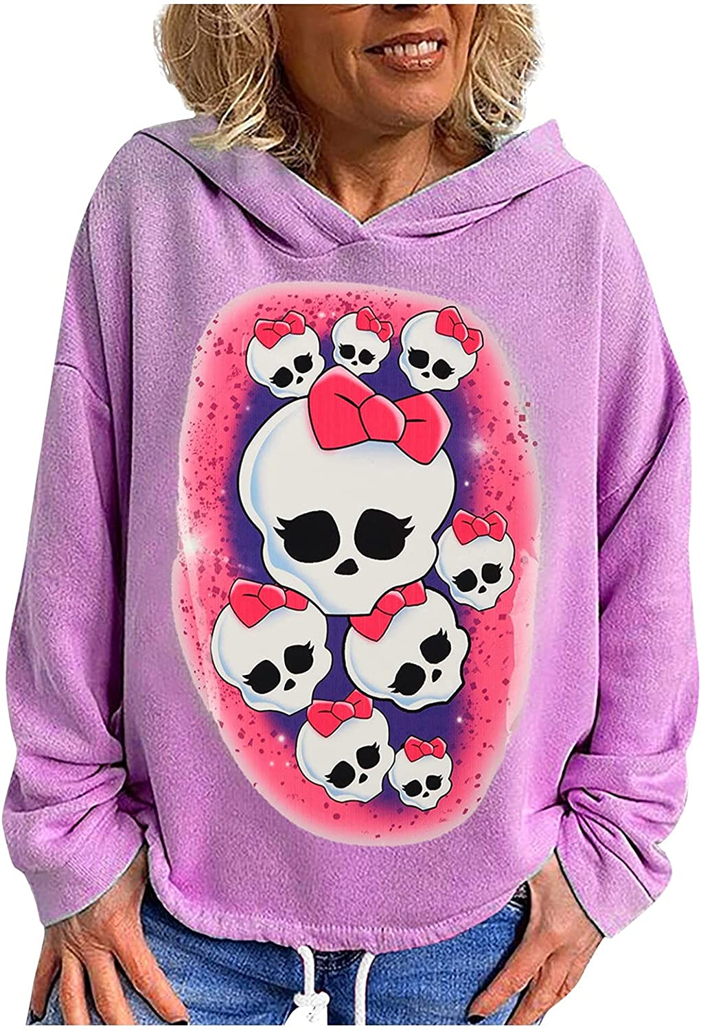 Women's Hooded Sweatshirt Drawstring At Hem Colorful Print Long Sleeve Blouses Loose Casual Pullover Lightweight Tops