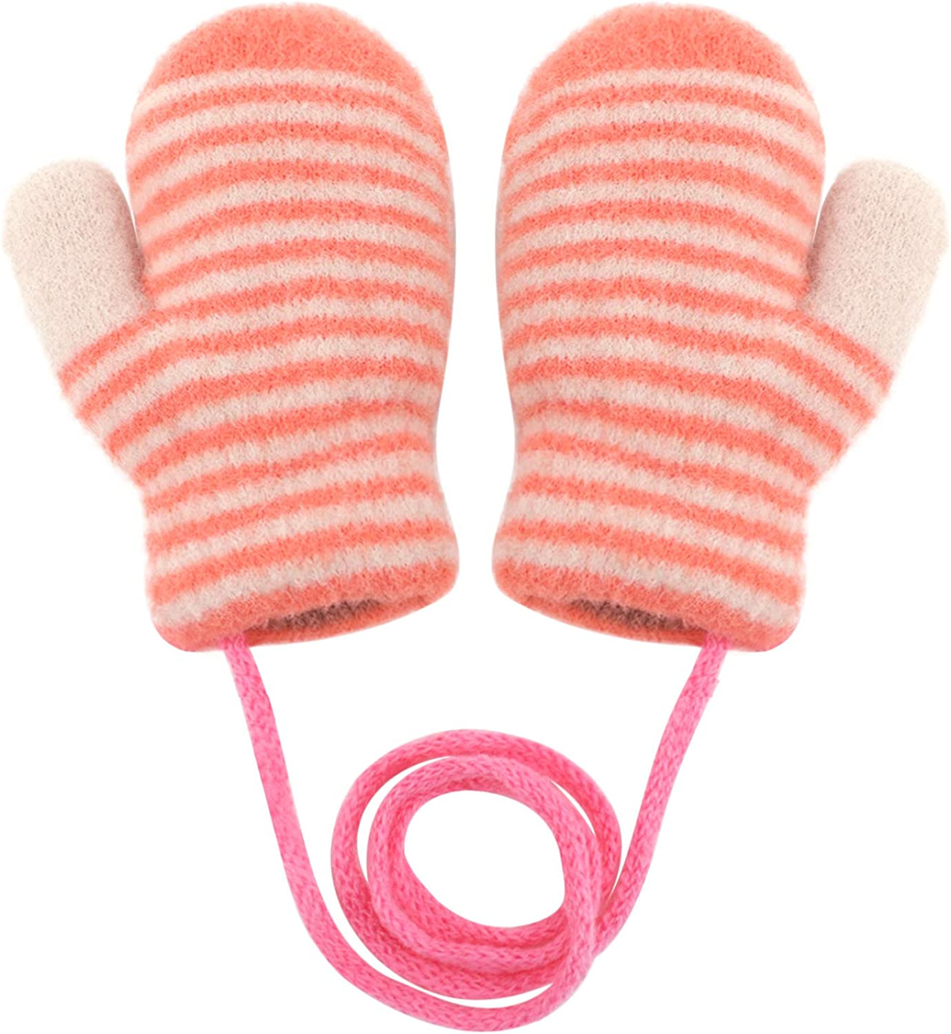 Baby Toddler Cute Cartoon Gloves Winter Warm Thicken Knitted Magic Mittens Gloves Fluffy Full Finger Mittens Fleece Lined Hanging Neck Mittens Hand Warmer Birthday Xmas Gifts for Kids Aged 0-3 Y
