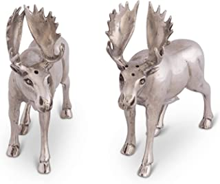 Vagabond House Pewter Moose Salt and Pepper Set 4.5