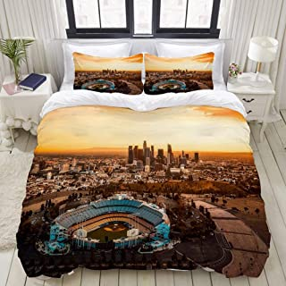 KUDOUXIA Duvet Cover Set LosAngelesCaliforniaDodgerStadiumCityUrban Lightweight Apartment Decorative Theme 3 Piece Bedding Set with 2 Pillow Shams Full/Queen