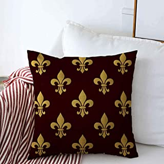 Staroutah Throw Pillows Cover 20 x 20 Inches Brown Badge Mardi Gras Carnival Pattern Fleurdelis Holidays Celebrate Celebration Costume Day Emblem Cushion Case Cotton Linen for Fall Home Decor