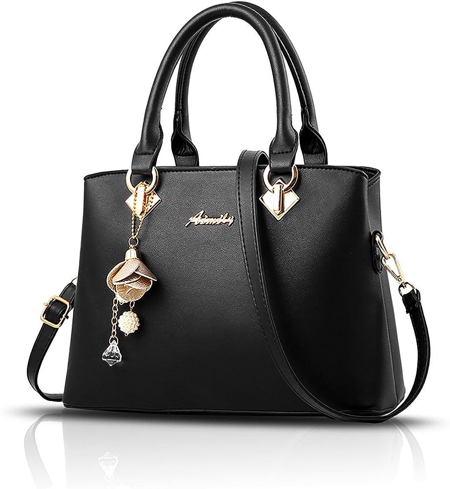 Sdinaz, borsa a mano/tracolla per donna, in pelle sintetica, nera SK-DE34305