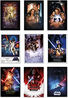 Star Wars: Episode I, II, III, IV, V, VI, VII, VIII & IX - Movie Poster Set (9 Individual Full Size Movie Posters - Version 1) (Size: 24 inches x 36 inches Each)
