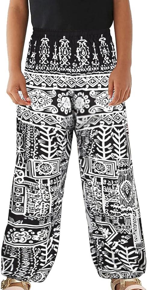 Kinder Boho Hippie Hose Jungen Mädchen Harmeshose Vintage-Muster Sport Yoga Hose Fitness Sommerhose Blommers Sweatpants