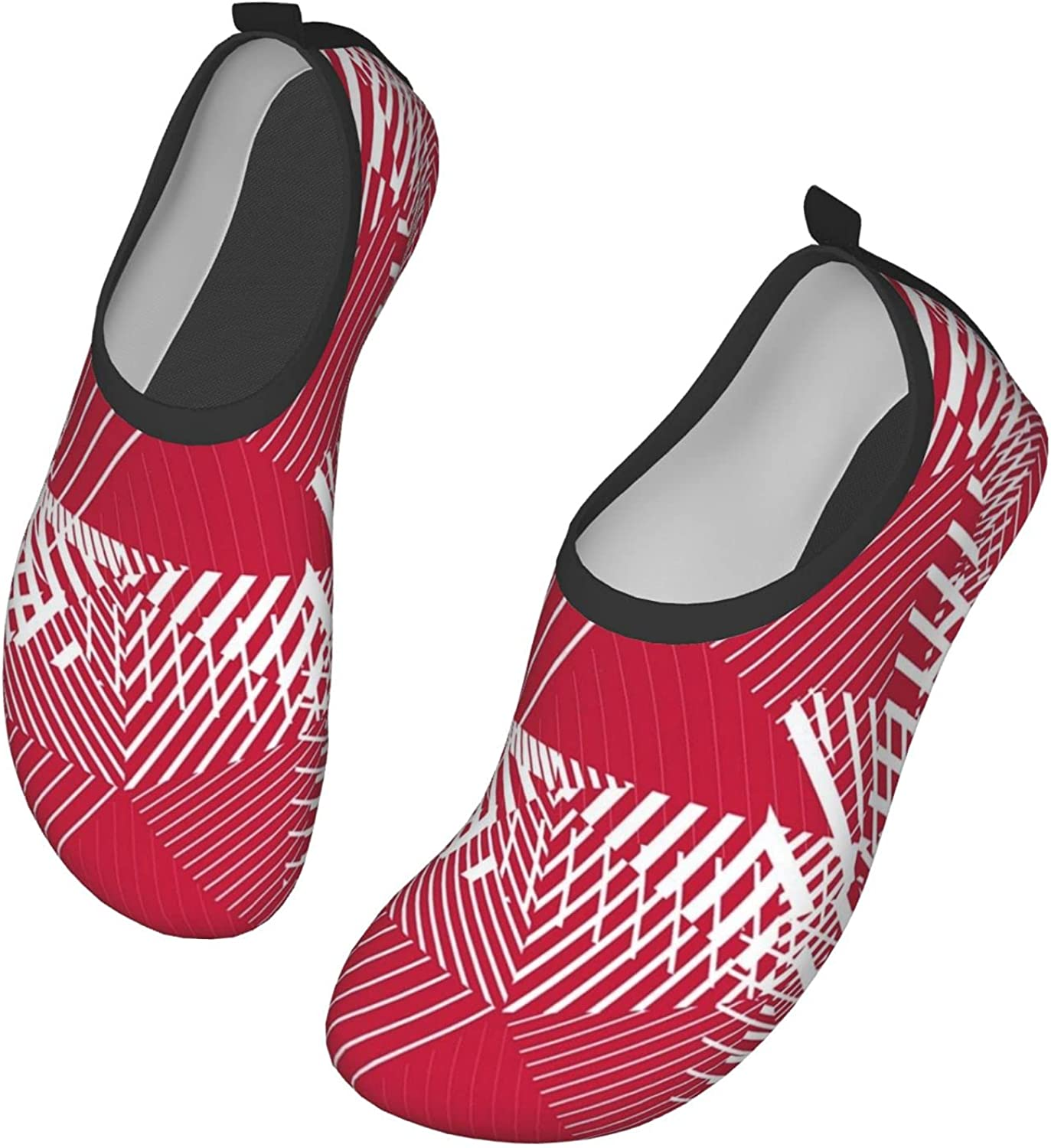Abstract Red Lines Water Shoes for Womens Mens Barefoot Quick-Dry Aqua Socks for Beach Swim Surf Yoga Exercise New Translucent Color Soles