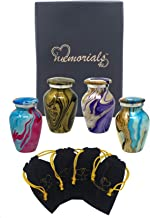 Ocean Tides Keepsake Urns Set of 4 - Beautiful Shades of Ocean Waves Mini Keepsakes - Waves Keepsake Urns - Solid Metal Multi Color Token Urns - Handcrafted and Affordable Miniature Urns for Ashes