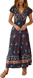 PRETTYGARDEN Women�s Summer V Neck Wrap Vintage Floral Print Short Sleeve Split Belted Flowy Boho Beach Long Dress