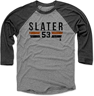 500 LEVEL Austin Slater Baseball Tee - Unisex Adult - San Francisco Baseball Raglan Shirt - Austin Slater San Francisco Font