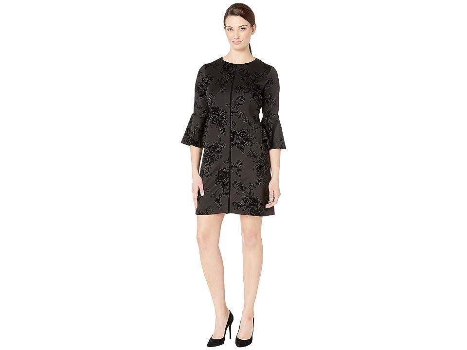 Gabby Skye Bell Sleeve Flocked Velvet Scuba (Black/Black) Women