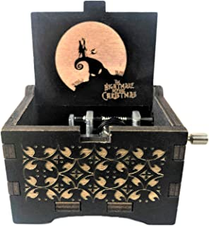 PhoenixAppeal Beautiful Carved Wooden Music Box Hand cranked: Lord of The Rings Beauty and The Beast, Star Wars, Frozen, Zelda and Lord of The Rings Theme Gift (Nightmare Before Christmas)
