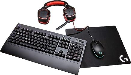 Logitech 991-000287 G Gear UP Gaming Bundle - Mouse para Videojuegos, Teclado, Auriculares estéreo y Alfombrilla para Mouse, Color Negro