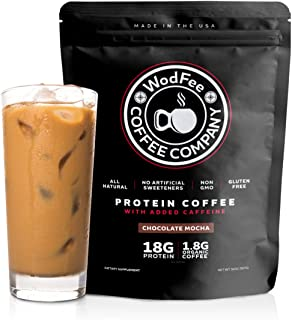 WodFee Protein Coffee | All Natural Whey Protein Coffee with 18G of Protein Per Serving | No Artificial Sweeteners, Non GMO and Gluten Free | Chocolate Mocha (37 Servings)