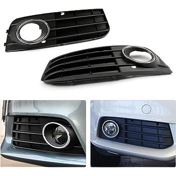 Yctze Rejillas de luz antiniebla parachoques 2 piezas para rejillas de luz antiniebla delantera brillante estilo RS4 negro brillante para A4 B8.5 2013-2016