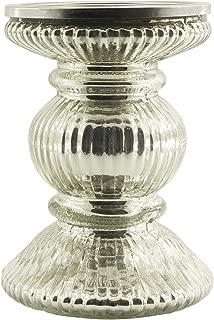 Crafkart Silver Pillar Glass Decor Centrepiece Candle Stand Ribbed Antique Look Votive Tealight Holder