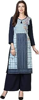 Florence Women's Sky Blue Crepe Digital Print Stitched Palazzo Kurta(FL-KT-142-PZ-012)