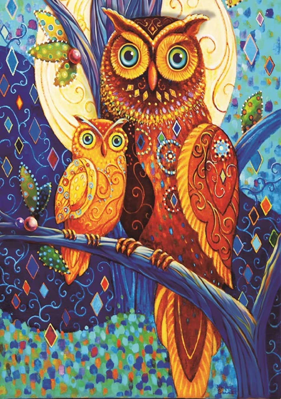 DIY 5D Diamond Painting Kit for Adults Children, NYEBS 5D DIY Diamond Painting Special Shaped Drill Animal The Owl Mother and Son Rhinestone Embroidery for Wall Decoration 12X16 inches