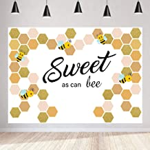 7X5FT Sweet Bee Photography Backdrops Little Bee Baby Shower Background Sweet As Can bee Birthday Party Backdrop Bridal Shower Sweet Holiday Party Decoration First Birthday Cake Table Banner Vinyl