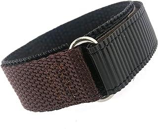 Watch Band Nylon One Piece Wrap Sport Strap Brown Adjustable Velcro 20 millimeter