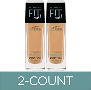 Maybelline Fit Me Matte + Poreless Liquid Foundation Makeup, Natural Beige, 2 COUNT Oil-Free Foundation