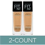 Maybelline Fit Me Matte + Poreless Liquid Foundation Makeup, Natural Beige, 2 COUNT Oil-Free...