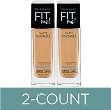 Maybelline Fit Me Matte + Poreless Liquid Foundation Makeup, Natural Beige, 2 COUNT Oil-Free Foundation
