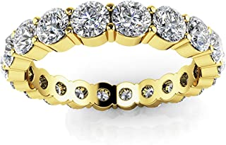 18K Yellow Gold 12.6ct Round Diamond SI1,SI2 G-H 5.5mm Eternity Band 9.7gr Ring Size 8