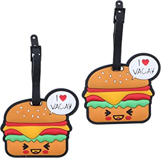 Set of 2 Fun Food Luggage Tags for Travel Suitcase ID Holder - Hamburger