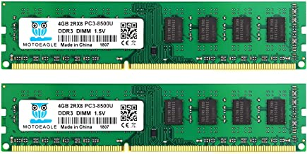 PC3-8500 DDR3 1066 MHz UDIMM 4GB, Motoeagle 2Rx8 PC3 8500 Desktop Memory 8GB Kit (2x4GB)1.5V CL7 Dual Rank UDIMM Upgrade Chips