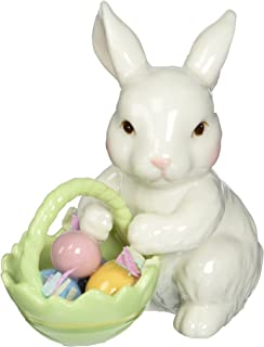 Cosmos 10593 Fine Porcelain Bunny with Easter Basket Figurine, 3-3/4-Inch