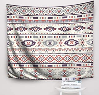 Crannel Ethnic Pattern Abstract Geometric Print Rustic Ornament Native American Purple Orange Colors Navajo Tapestry 80x60 Inches Wall Art Tapestries Hanging for Dorm Room Living Home Decorative