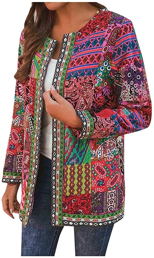 Omaha Mall ANJUNIE Women Plus Size Vintage Print Style Jacket [Alternative dealer] Ethnic Floral