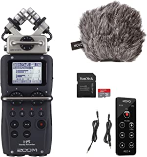 Zoom H5 Portable Recorder 4 Track Recorder with Movo Recording Bundle - Studio Accessories Include