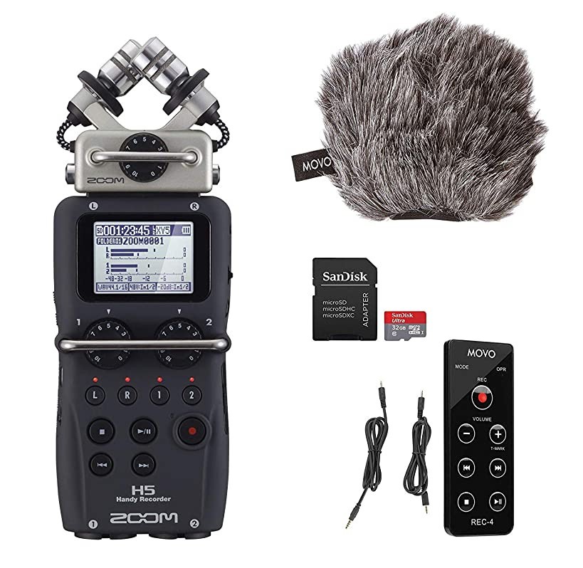 Zoom H5 4-Track Handy Recorder with Movo ESSENTIALS Bundle - Includes