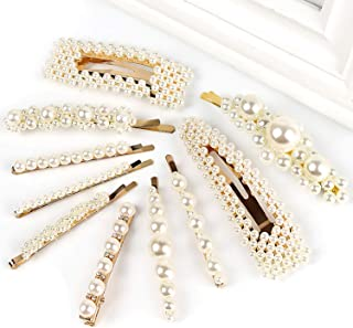 10pcs Pearls Hair Clips for Women Girls, 2020 Fashion Hair barrettes, Hair Clips Pearl for Birthday Valentines Day Gifts Bling Hairpins Headwear Barrette Styling Metal Hair Clip Wedding