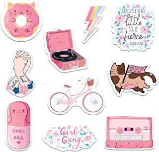 RipDesigns - 10 Pink Stickers for Water Bottles, Laptops (Series 16)