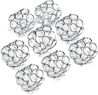Feyarl Sparkly Napkin Rings Crystal Beads Napkin Holders 8pcs for Wedding Centerpieces Special Occasions Celebration Romantic Candlelit Banquet Festival Decoration