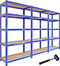 3 x T-rax Stellingkasten - 90 cm x 45 cm x 180 cm - Blauw - 100% boutloos - Draagkracht: 280 kg per plank - opbergrek metaal
