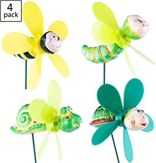 Wind Spinners Pinwheels Whirlygigs Garden Stakes Decorations Outdoor Lawn Decorative Yard Decor Patio Accessories Windmills Ornaments Plastic Gardening Art Mini Christmas Whimsical Gifts (Pack of 4)
