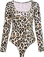 Sexy Lady Long Sleeve Leopard Square Neckline Jumpsuit Bodysuit Tops Women